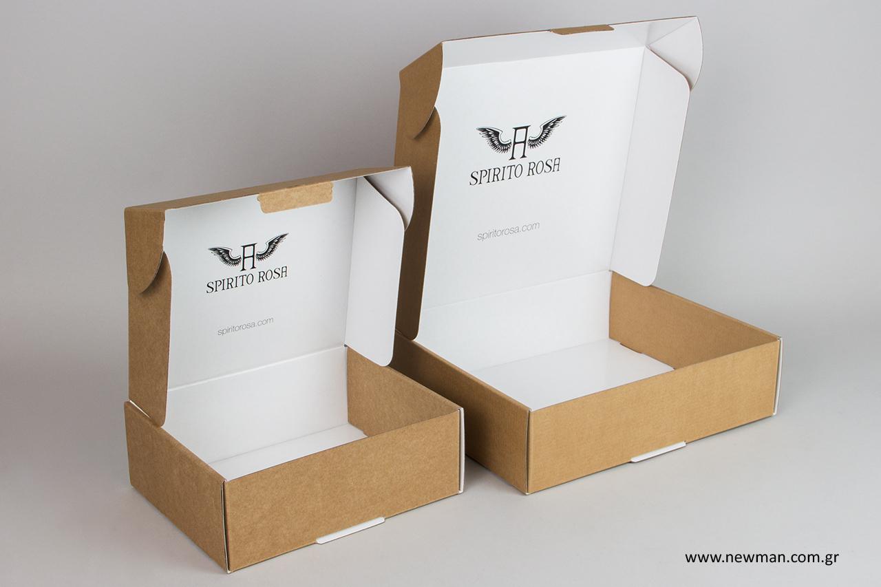 Τυπωμένα κουτιά για αποστολές κούριερ, ταχυδρομείου και e-shop με λογότυπο.