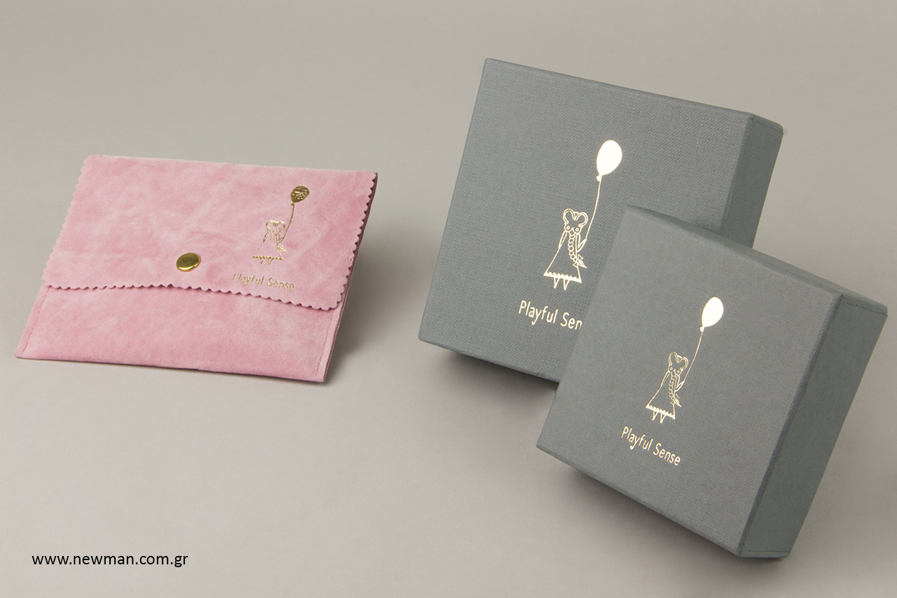 Σουέτ πουγκιά κοσμημάτων σε σχήμα τσέπης με κουμπί.