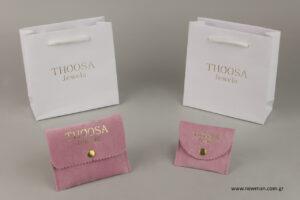 Thoosa jewels: Τυπωμένα είδη συσκευασίας κοσμημάτων με λογότυπο.