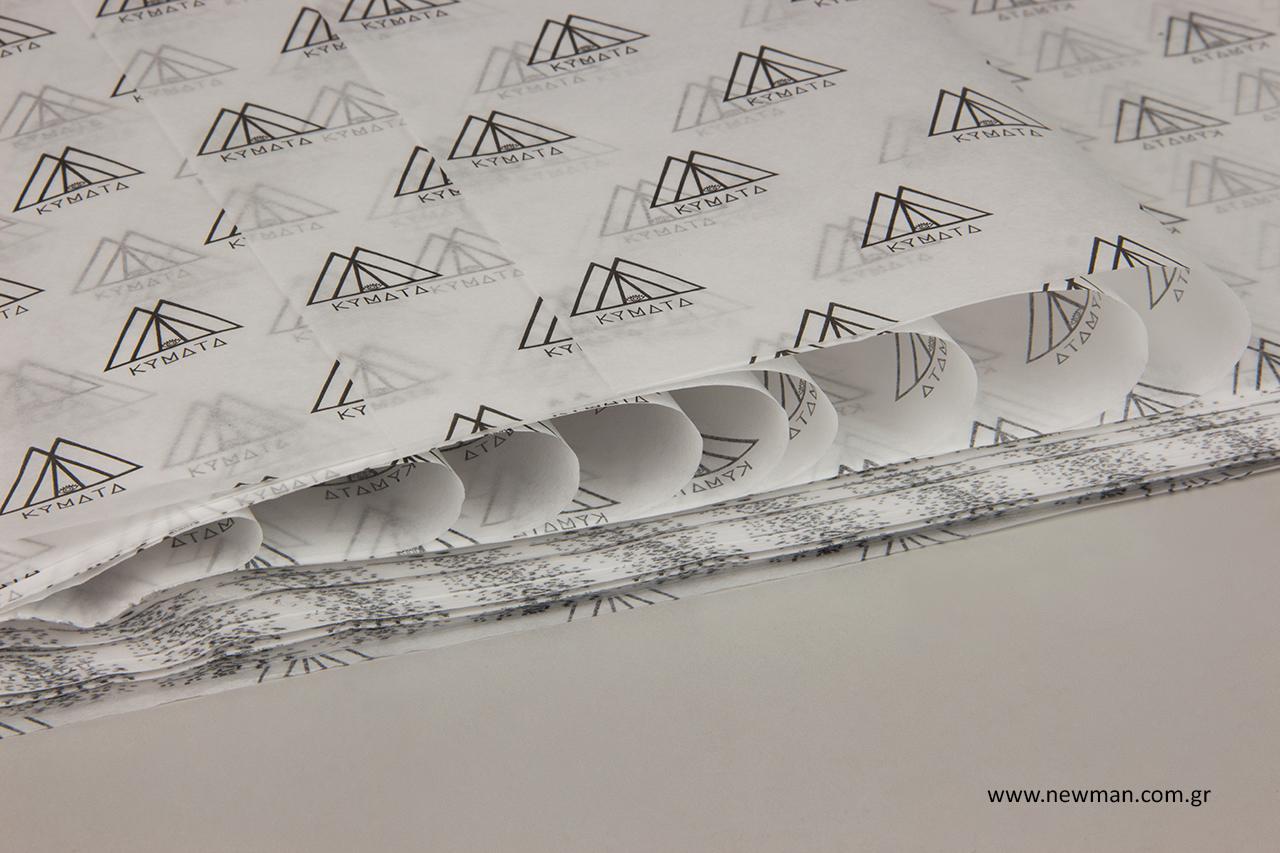 Φλεξογραφική εκτύπωση λογότυπου σε χαρτί αφής.