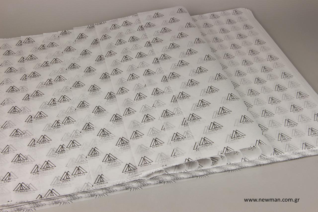 Μαύρο τύπωμα σε λευκό χαρτί αφής χονδρικής.