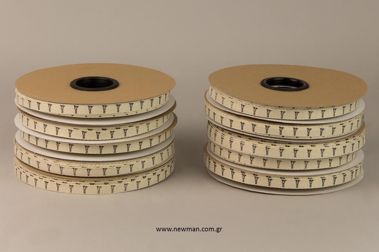 Επώνυμες κορδέλες με σχέδιο για διακόσμηση συσκευασιών.
