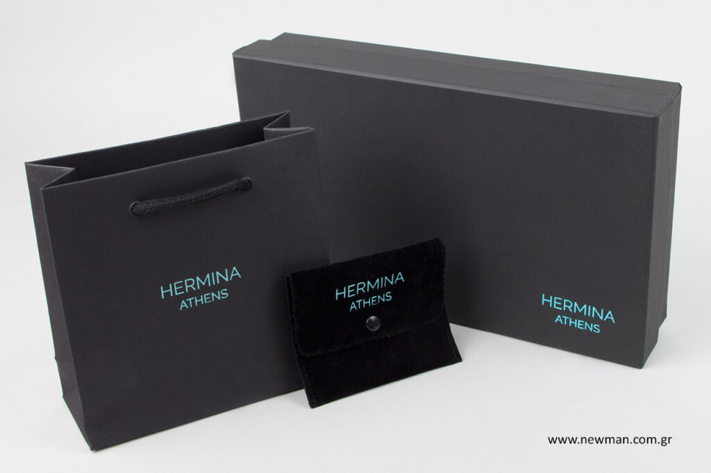 Hermina Athens: Συσκευασίες για κοσμήματα με τιρκουάζ μεταλλοτυπία NewMan.