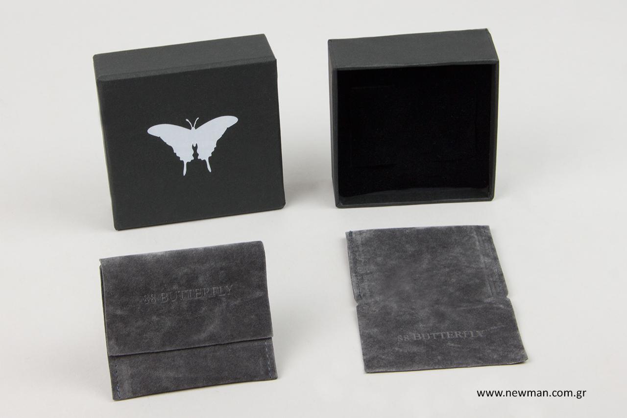 Πουγκιά σε σχήμα τσέπης με βαθυτυπία και κουτιά χονδρικής με θερμοτυπία.