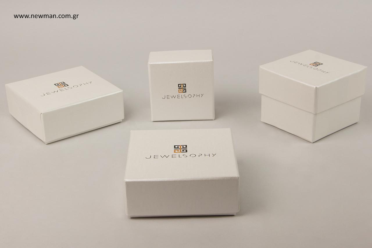 Κουτιά κοσμημάτων από χαρτί, με εσωτερικό βελούδο και τύπωμα λογότυπου.