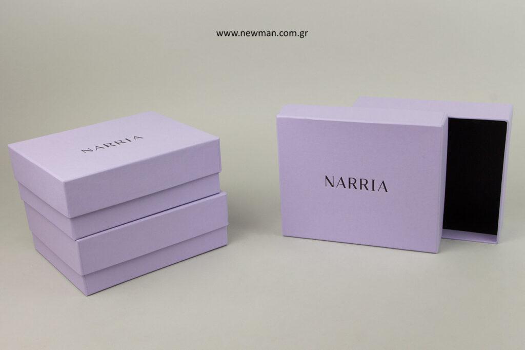 NARRIA: Τυπωμένα κουτιά συσκευασιών με λογότυπο.
