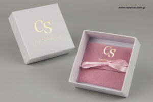 CS boutique – My Christel: Λογότυπο τυπωμένο σε είδη συσκευασίας για κόσμημα κι αξεσουάρ.