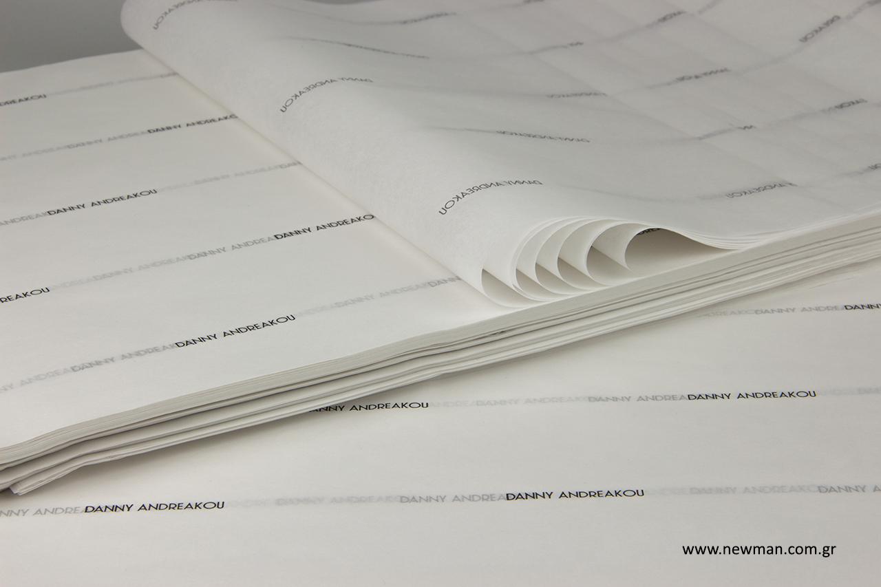 Τυπωμένο χαρτί αφής με λογότυπο.