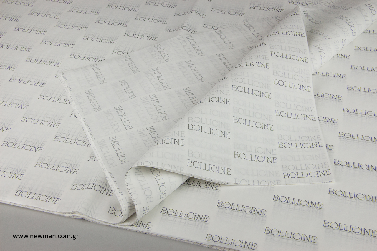 Bollicine Mykonos: Είδη συσκευασίας NewMan με εκτύπωση λογότυπου.