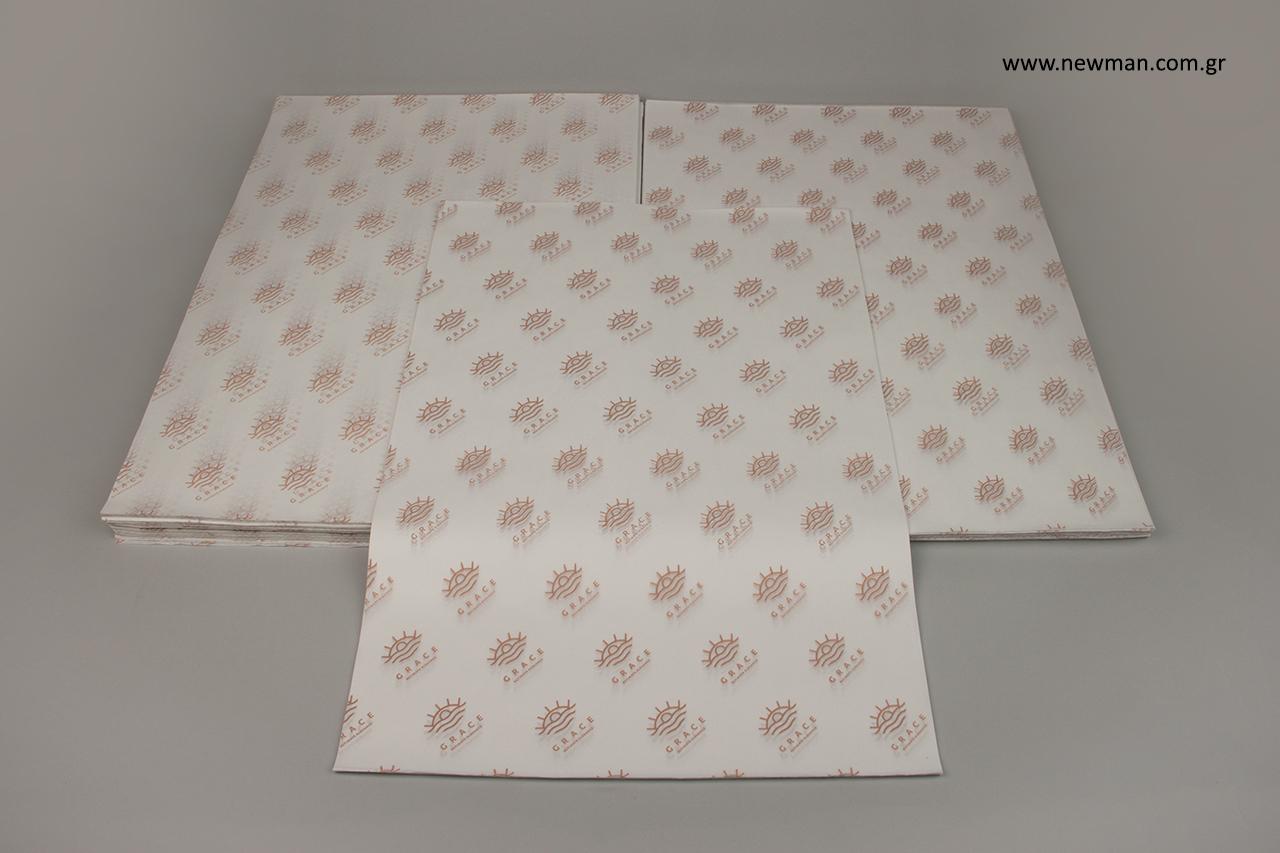 Φλεξογραφική εκτύπωση σε επώνυμο χαρτί αφής.