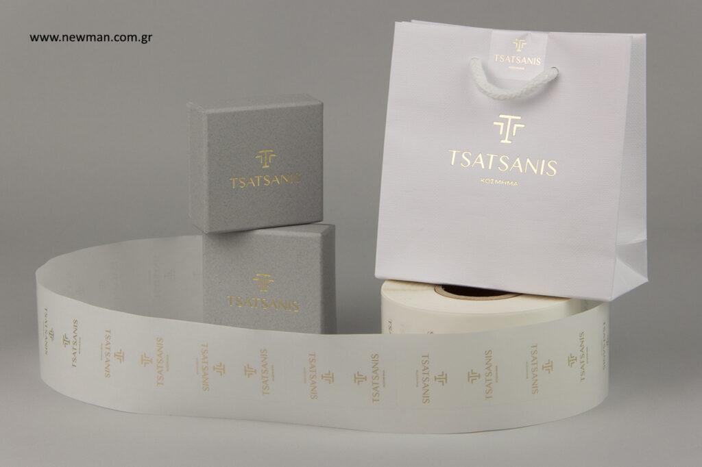 Τσατσάνης κόσμημα - Tsatsanis: Κουτιά, σακούλες και ετικέτες με λογότυπο.