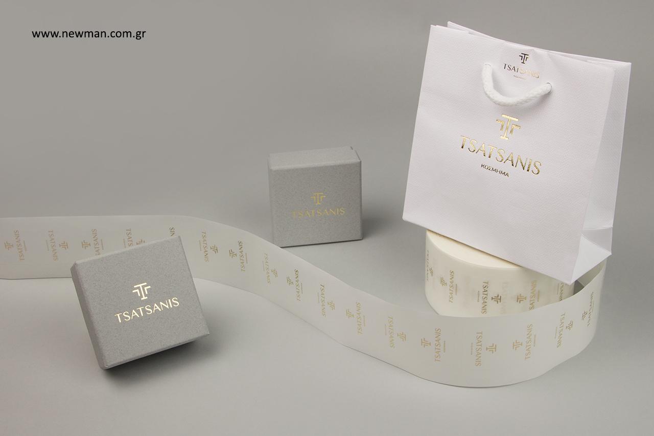 Τυπωμένα είδη συσκευασίας για κοσμήματα με λογότυπο.