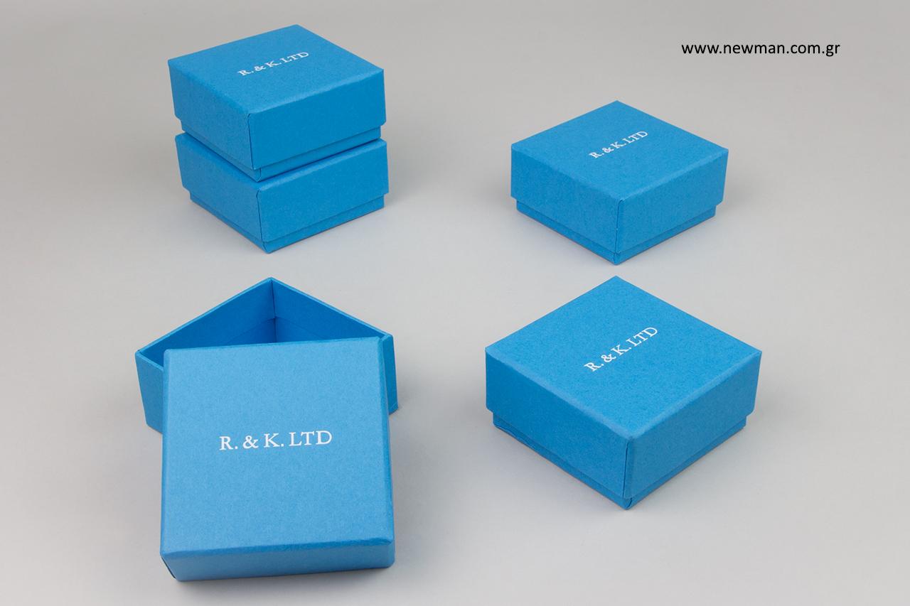 Tabriz blue κουτιά συσκευασίας χονδρικής με λευκή εκτύπωση.