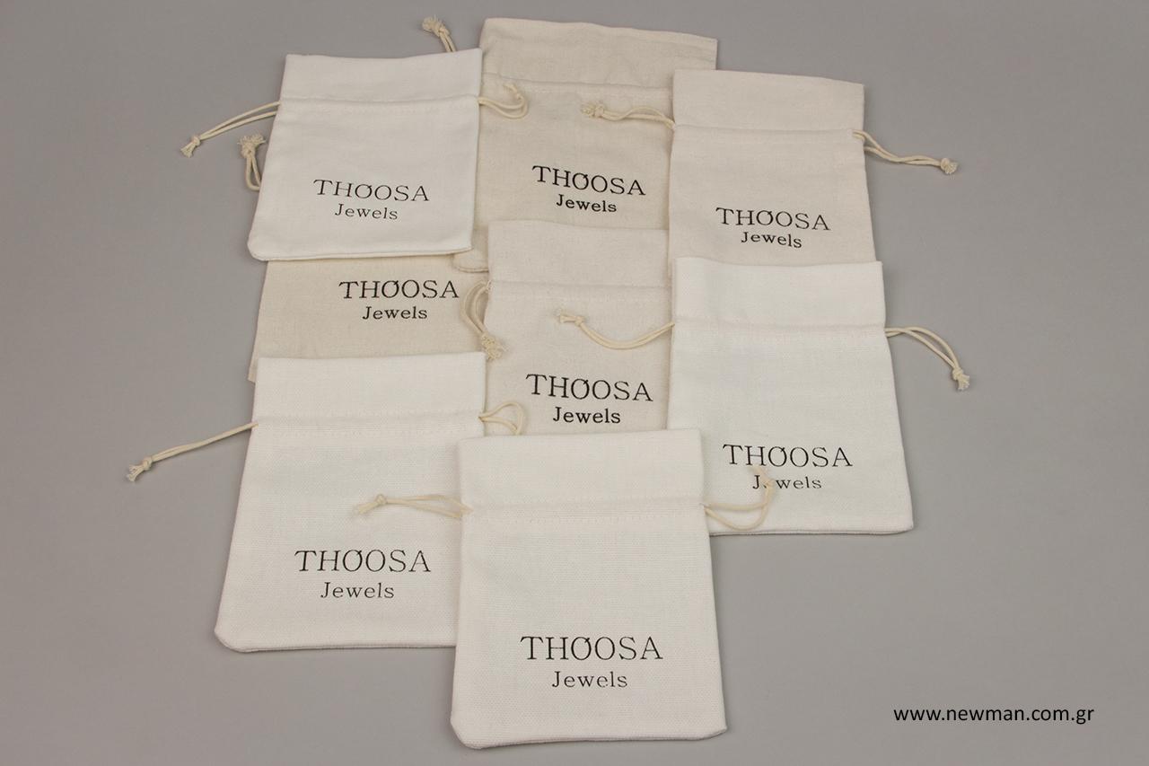 Βαμβακερά πουγκιά για κοσμήματα με εταιρική επωνυμία.