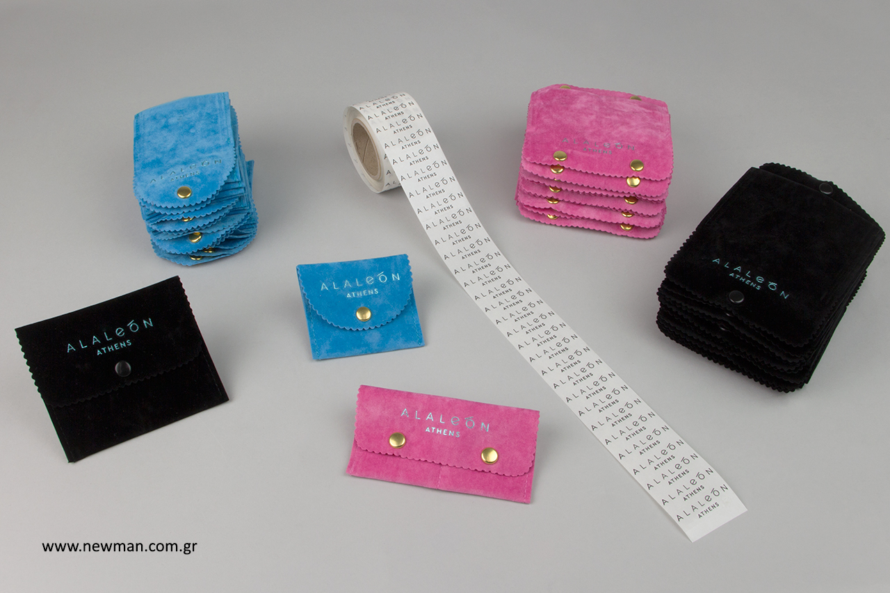 Αυτοκόλλητα και ποσέτες για κατάστημα κοσμημάτων με εκτύπωση.