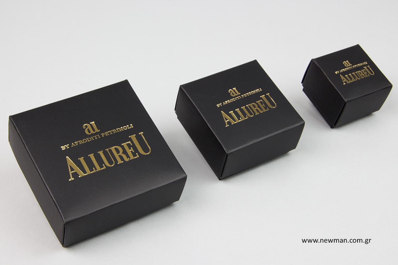 Χάρτινα κουτιά με ματ πλαστικοποίηση και χρυσή εκτύπωση.