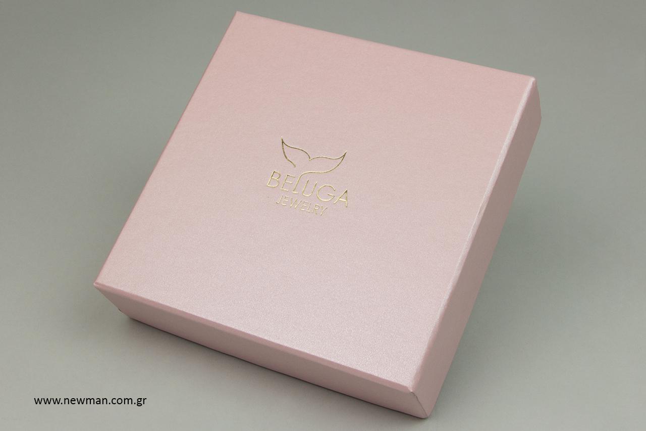 Ροζ πέρλα χάρτινα κουτιά με εκτύπωση.