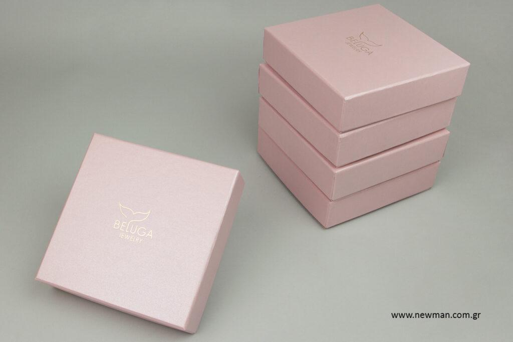 Beluga jewelry: Τυπωμένα κουτιά συσκευασίας NewMan για κοσμήματα.