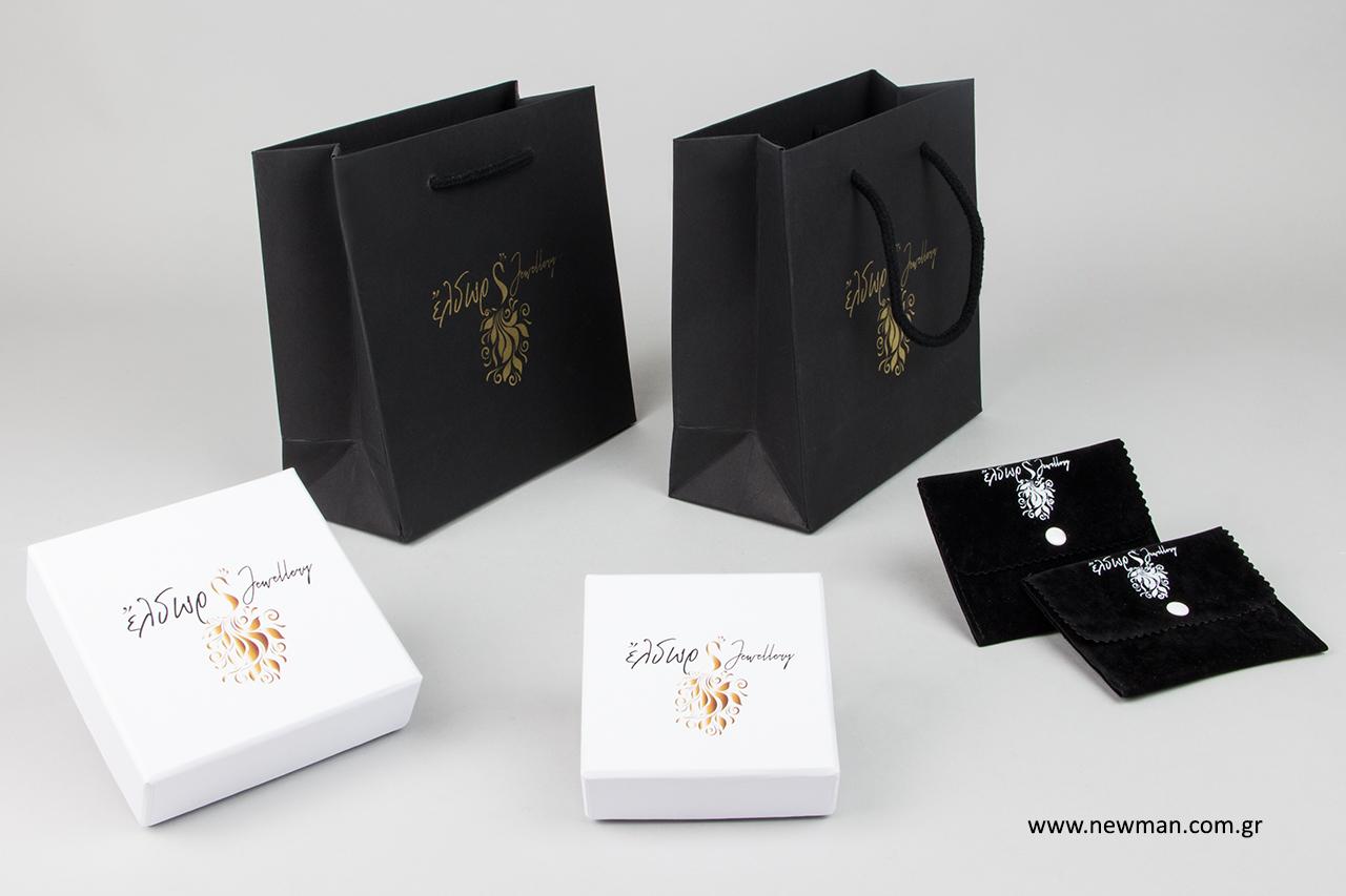 Εκτύπωση λογότυπου σε πουγκιά, τσάντες και κουτιά.