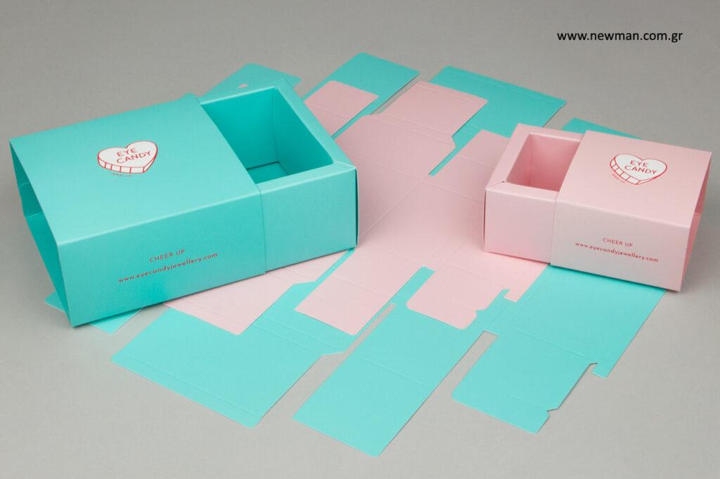 Eyecandy: Κουτιά συσκευασίας με εκτύπωση λογότυπου.