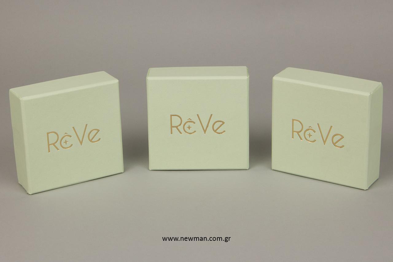 Χρυσή μεταλλοτυπία επωνυμίας σε κουτιά χονδρικής.