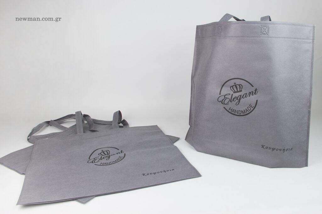 Elegant Handmade: Επώνυμες τσάντες καταστήματος με τύπωμα.
