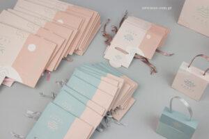 Grace – Ultimate Elegance: Σιέλ και ροζ απαλό εξατομικευμένα τσαντάκια σε δύο μεγέθη.