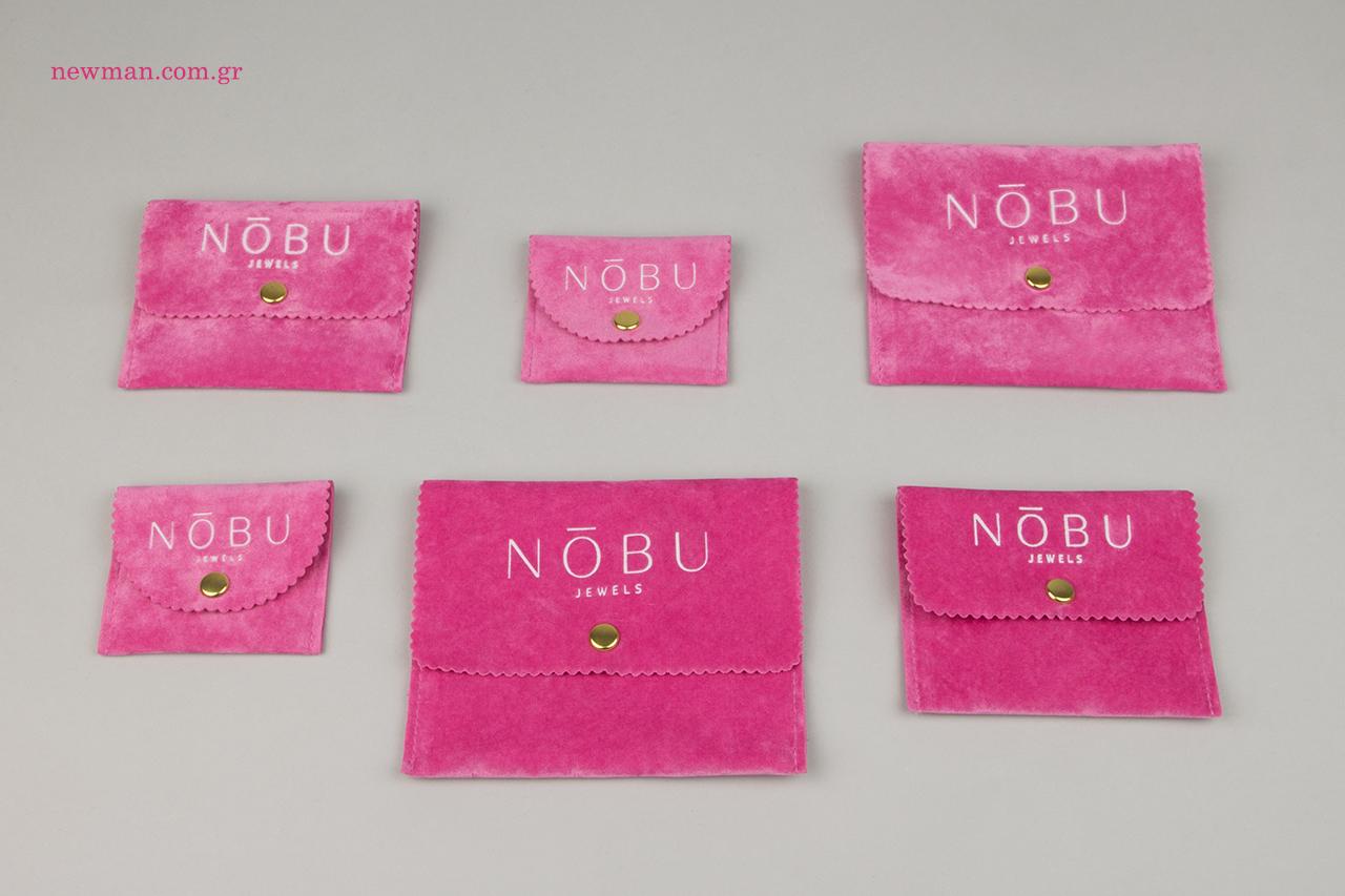 Ροζ ποσέτες για κόσμημα με εκτύπωση εταιρικής επωνυμίας.