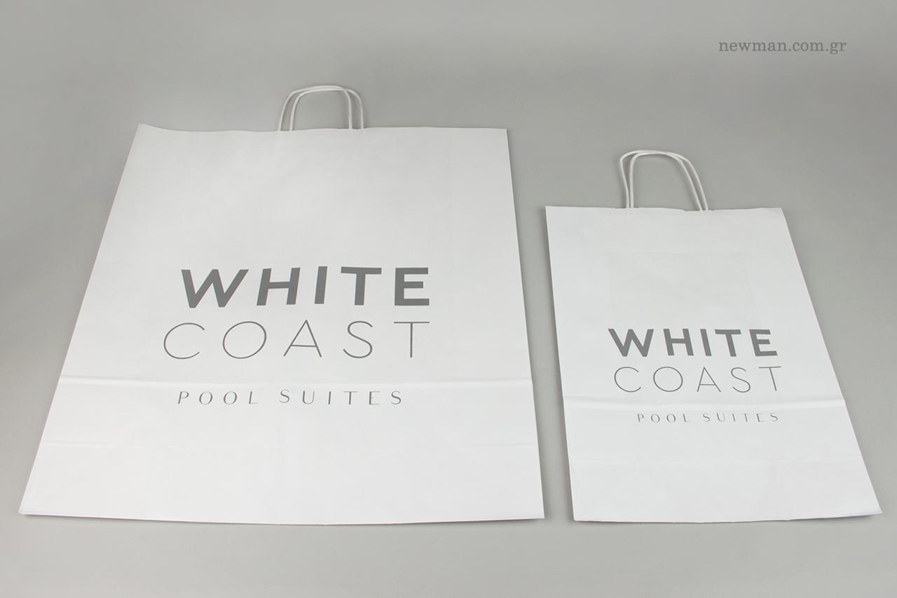 Οικολογικές τσάντες δώρου με εταιρικό λογότυπο.